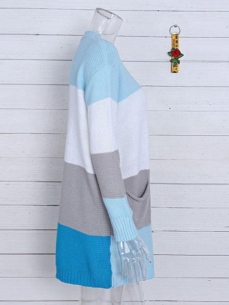 Striped color block pocket cardigan