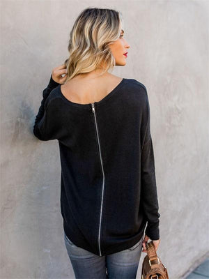 Round collar back zipper loose long sleeve  Sweater