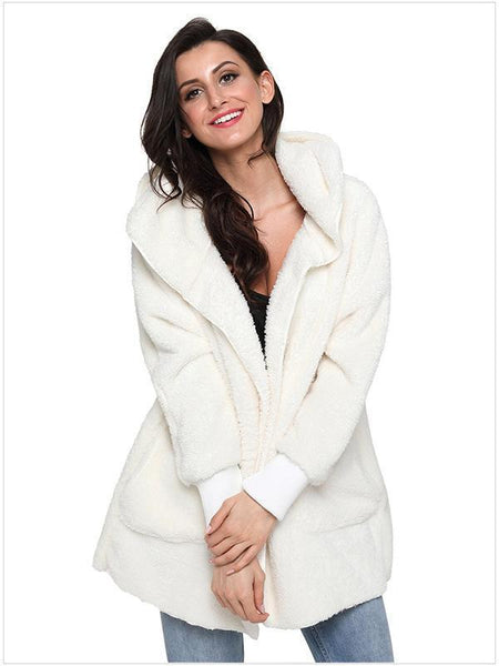 Hooded pocket fuzzy coat
