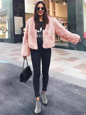Round collar faux fur short coat