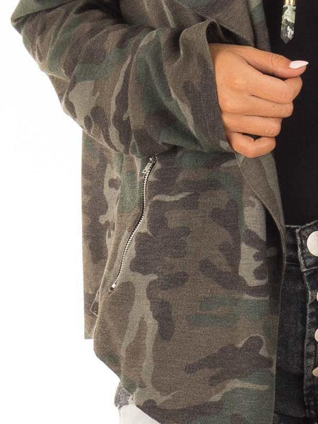 Turn-down collar zipper pocket camouflage pocket coat