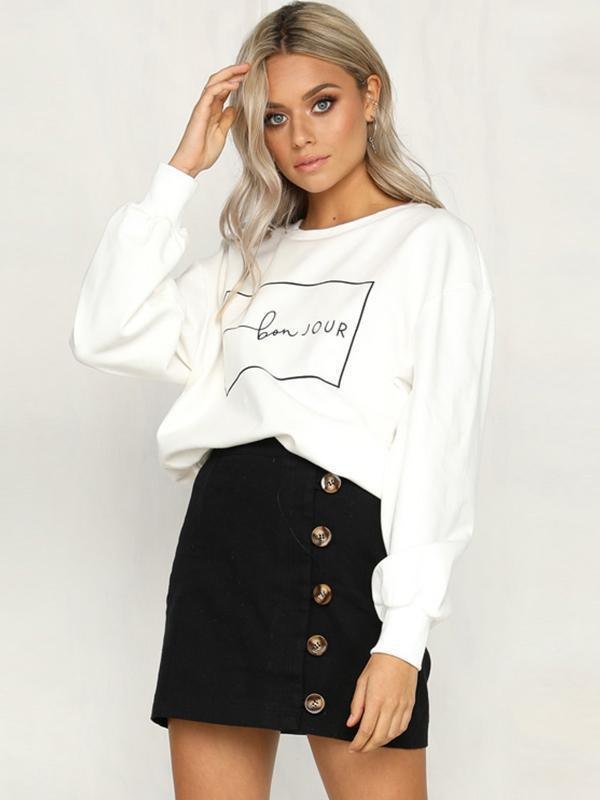 Letter graphic drop shoulder loose T-shirt