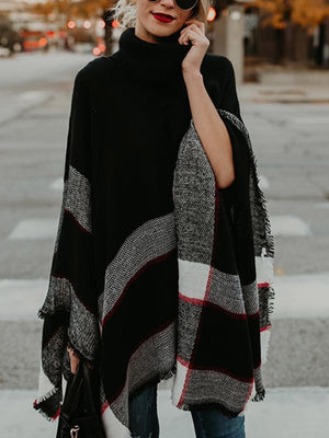 High-neck stripes mixed color batwing sleeve cloak sweater