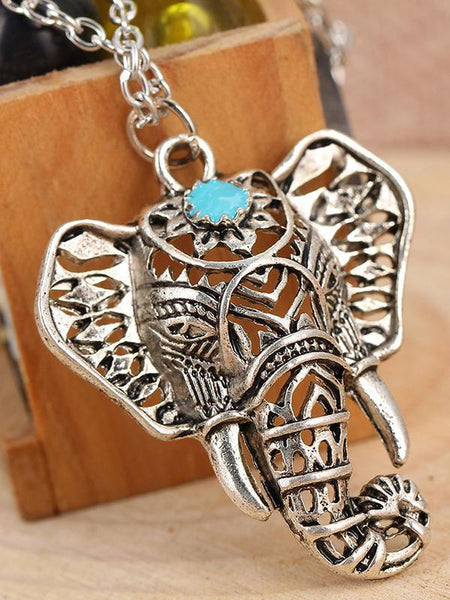 Retro Silver Carving Elephant Turquoise Necklace