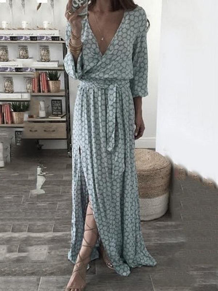 V neck going out geometric floral maxi dress