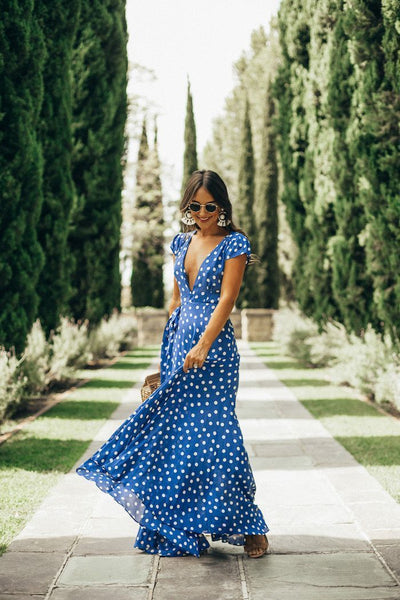 Printed V-neck Beach Maxi Dress