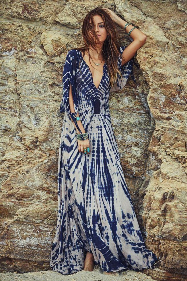 Gradient color v-neck maxi dress