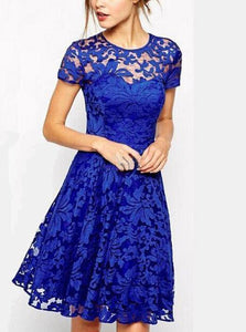 Round Collar Hollowed-out Lace Short Sleeve Evenin Dress