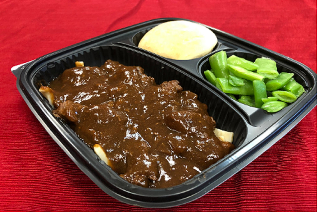 Beef Tips with Noodles, Green Beans, Roll and Butter - 1 Serving Meal