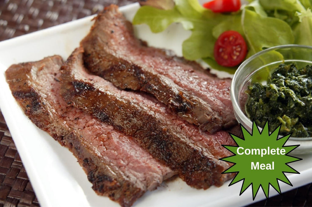 Chimichurri Grilled Flank Steak with Fire Roasted Vegetables and Exotic Grains - 1 Serving Meal