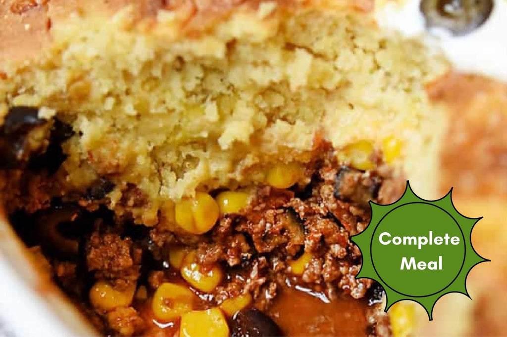 Cornbread Crusted Mexican Casserole with Corn and Picante Rice - 1 Serving Meal