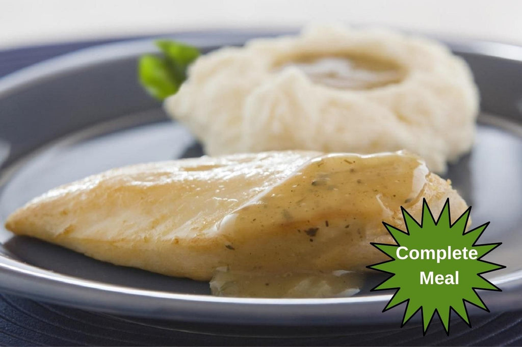Tender Chicken with Herbed Pan Gravy with Tri-Color Potatoes and Roll & Butter - 1 Serving Meal