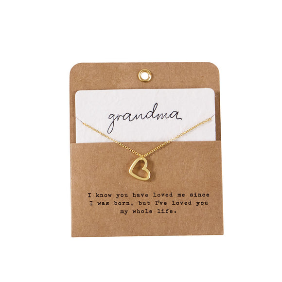 Gold Heart Necklace Grandma