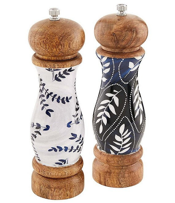 Mud Pie Blue Enamel Salt and Pepper Mill Set