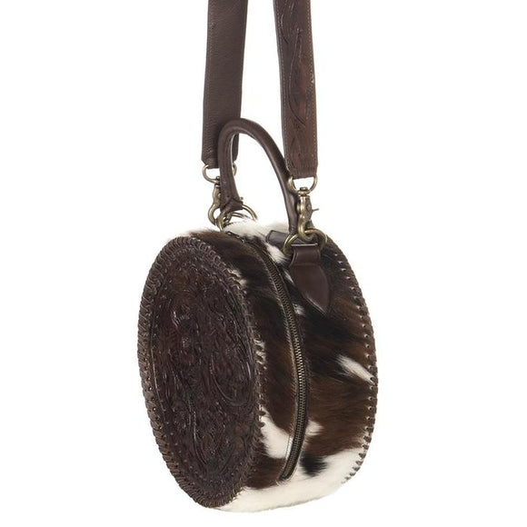 Juan Antonio Round Leather and Brindle Bag with Wide Strap