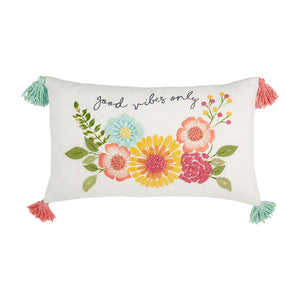 Mud Pie Good Vibes Only Floral Pillow