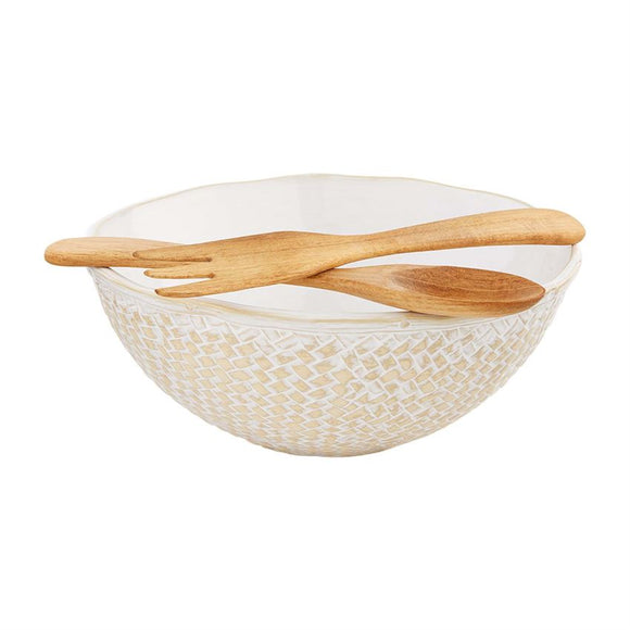 Mud Pie White Basket Weave  Bowl with Servers