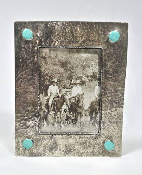 Silver 5x7 Frame with Dimples and Turquoise