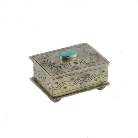 J Alexander Stamped Box with Turquoise
