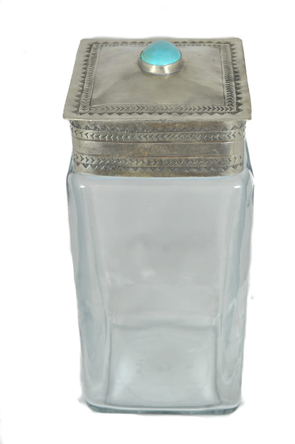 J Alexander Large Glass Canister with Stamped Silver Tuquoise Stone