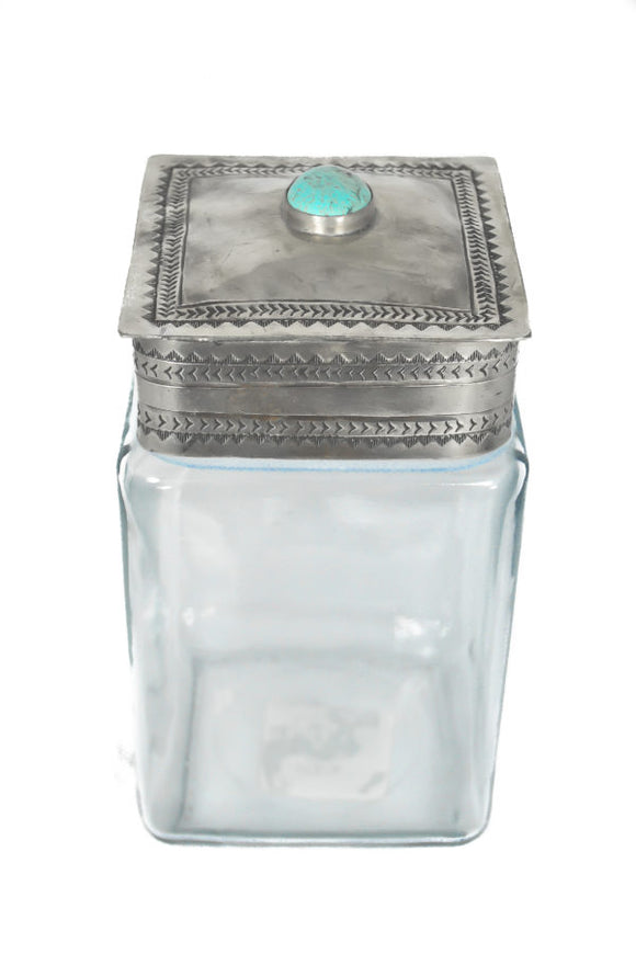 J Alexander Silver Stamped Lid with Turquoise Glass Canister