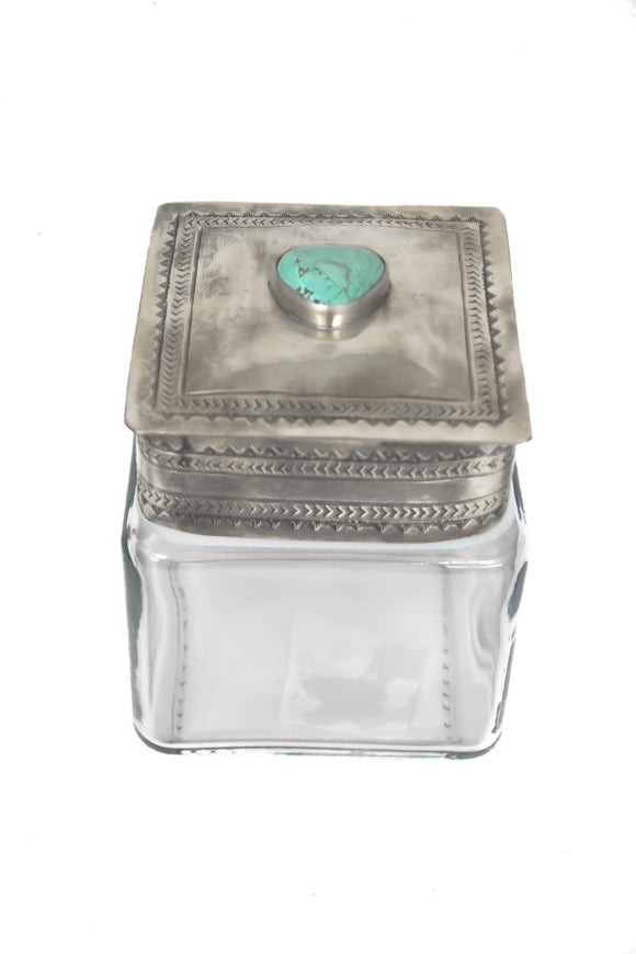 J Alexander Small Glass Canister with Lid with Turquoise Stone