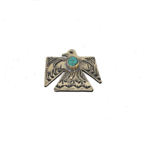 Silver Thunderbird Pin with Turquoise