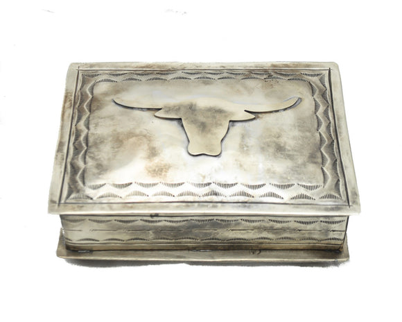 STAMPED SILVER BOX W/ LONGHORN ICON