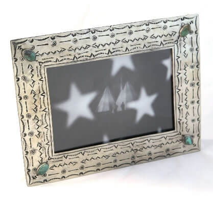 Silver 5x7 frame with Turquoise