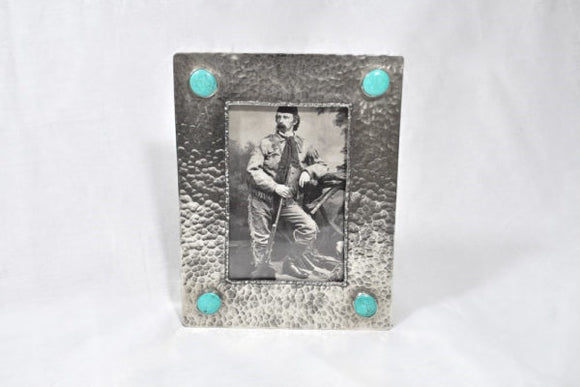 J Alexander 4x6 Silver stamped frame with Turquoise on Corners