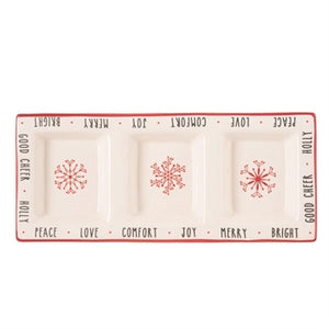 Snow Stripe Divided Tray