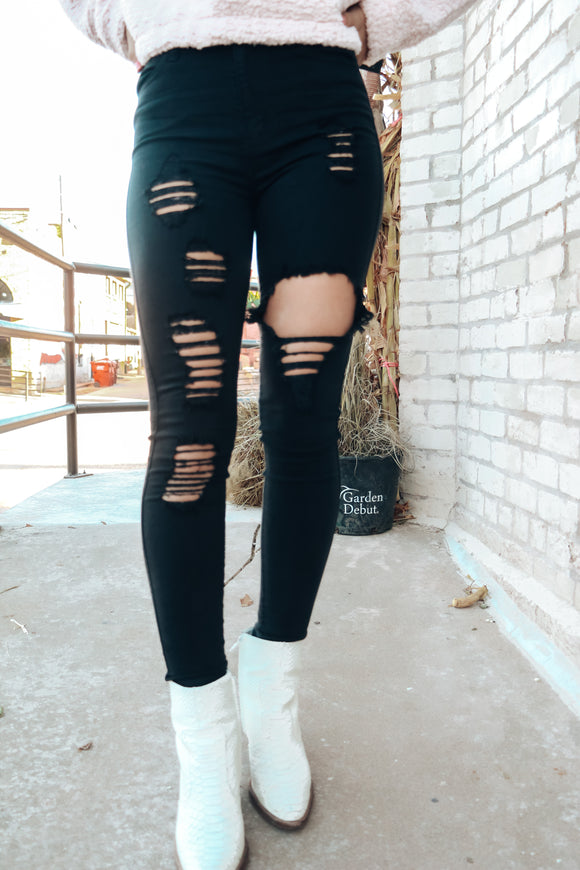 Kendra Distressed Black Jegging