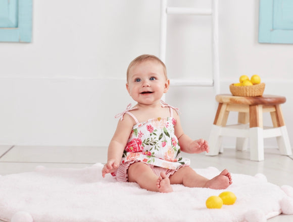 Mud Pie Pink Floral Pinafore and Bloomer Set