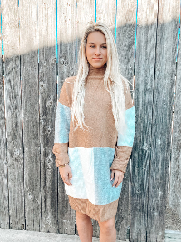 Meant To Be Color Block Sweater Dress