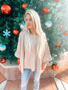Sweater Weather Oversized Knit Sweater- Cream