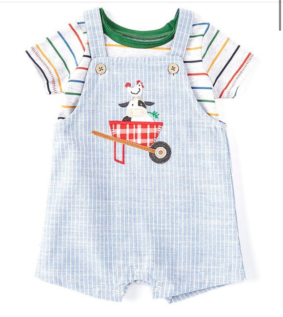 Mud Pie Cow Ticking Overall Set
