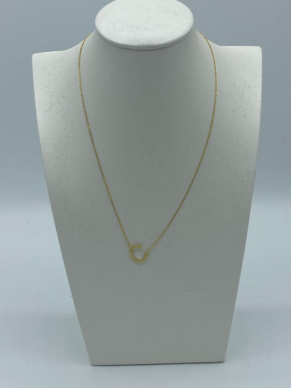 Gold Etched Slanted Initial Necklace