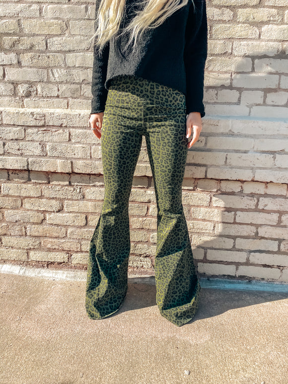Into the Jungle Olive Green Leopard Flares