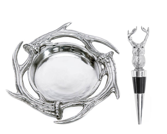 Arthur Court Antler Wine Coaster and Stopper Set