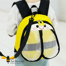 Load image into Gallery viewer, Just Bee Loved Children's Safety Harness Backpacks in the style of bumble bees four colours pink red blue and yellow