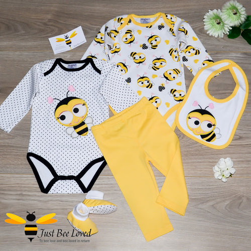 Baby Girl 5 Piece Sweet Bee Cotton Gift Set - 0 to 12mths