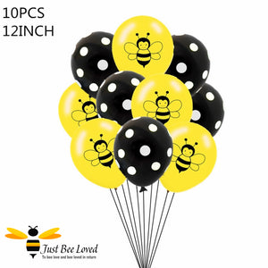Bee Balloons 10 Piece Bouquet Bee Party Supplies & Fancy Dress