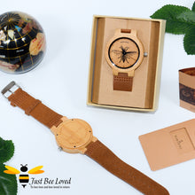 Load image into Gallery viewer, Men's Bamboo Bee watch with brown leather band by Bobo Bird