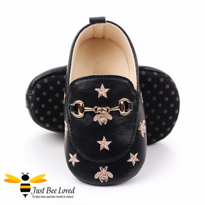baby infant girl PU leather soft loafers, featuring embroidered golden bees and stars design with buckle link in black