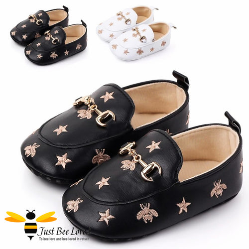 baby infant girl PU leather soft loafers, featuring embroidered golden bees and stars design with buckle link in colours black or white