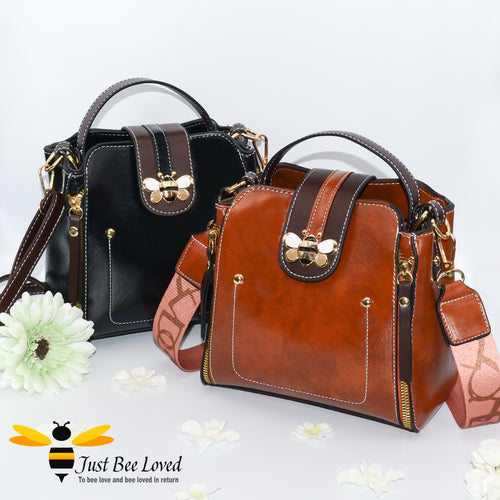 Flap over bumblebee two-toned vegan friendly leather handbags in black, brown.