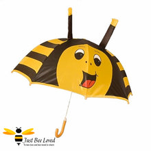 Load image into Gallery viewer, Children's Smiley Bumblebee with antennae umbrella