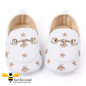 baby infant girl PU leather soft loafers, featuring embroidered golden bees and stars design with buckle link in white