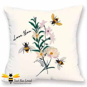"Soft and luxurious to the touch, large scatter cushion featuring embroidered design image of bumblebees and flowers with ""Love You"" text."