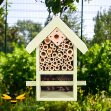 Load image into Gallery viewer, Wooden Bee and bug hotel house for garden certified by the Forest Sustainability Council